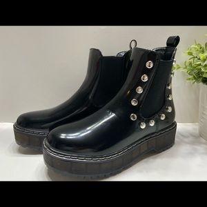 NEW Unionbay Krystal Studded Women's Slip On Combat Boots Black Size 7.5, 8